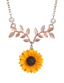 Fashion Rose Gold Sunflower Leaf Flower Necklace