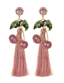 Fashion Leather Pink Alloy Studded Cherry Tassel Earrings