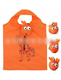Fashion Giraffe Polyester Cartoon Folding Green Shopping Bag
