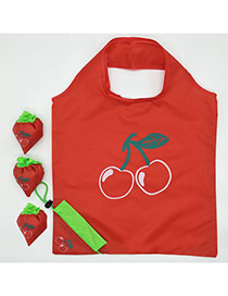 Fashion Cherry Polyester Folded Fruit Green Bag Shopping Bag