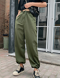 Fashion Army Green Beam Mouth Tooling High Waist Harem Pants