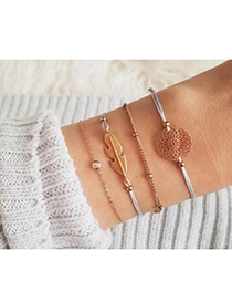 Fashion Gold Alloy Wax Rope Leaf Bracelet Set