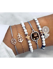 Fashion Gray Alloy Wax Rope Resin Beads Lotus Su Bracelet Set