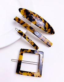 Fashion Yellow Alloy Resin Leopard Hair Clip Set