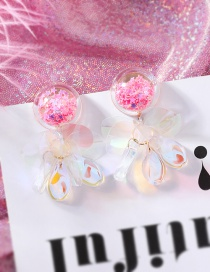Fashion Pink (sequin Tassels) Fruit Smiley Love Transparent Ball Earrings