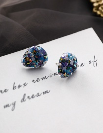 Fashion Blue Rainbow Candy Children's Fun Sequins Irregular Round 925 Silver Stud Earrings