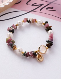 Fashion Color Natural Stone Crystal Shaped Irregular Shell Pearl Conch Bracelet