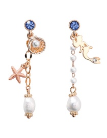 Fashion Gold 925 Silver Needle Mermaid Starfish Shell Pearl Earrings