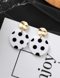 Fashion Black Spots On White Contrast Stripes  Dot Large Disc  925 Silver Needle Studs