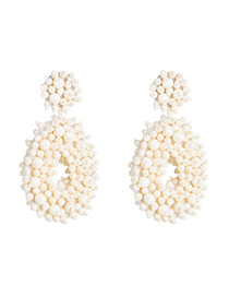 Fashion White Velvet Compartment Thickening Drop-shaped Rice Beads Earrings