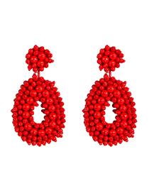 Fashion Red Velvet Compartment Thickening Drop-shaped Rice Beads Earrings