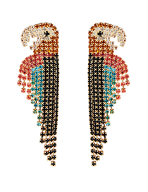 Fashion Color Diamond Parrot Earrings