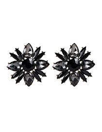 Fashion Black Floral Diamond Earrings