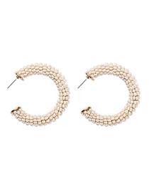Fashion White C-shaped Rice Beads Earrings
