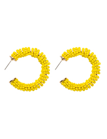 Fashion Yellow C-shaped Rice Beads Earrings