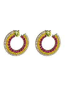 Fashion Color Ring Multi-layer Acrylic Diamond Earrings