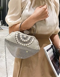 Fashion Silver Pearl-studded Evening Shoulder Messenger Bag