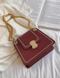 Fashion Wine Red Trumpet Crossbody Sewing Chain Lock Bag