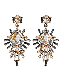 Fashion Champagne Alloy Diamond Drop Shape Earrings