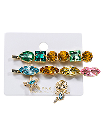 Fashion Color Alloy Diamond Mermaid Hairpin Stud Earring Set