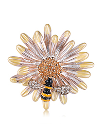 Fashion Yellow Alloy Flower Bee Brooch