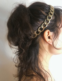 Fashion Environmentally Friendly Gold Geometric Thick Chain Elastic Hair Band