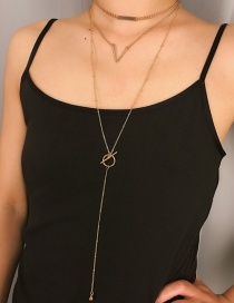 Fashion Gold Square Metal Ball V-shaped Multi-layer Tassel Necklace