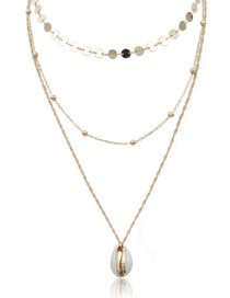 Fashion Gold Copper Bead Chain Multi-layer Sequined Gold-plated Shell Necklace
