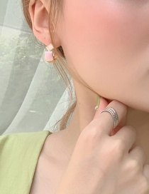 Fashion Pink Alloy Geometric Earrings