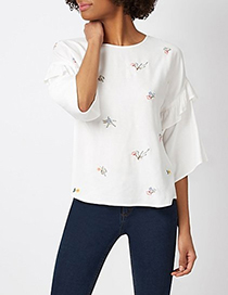 Fashion White Ruffled Embroidered Top
