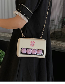 Fashion White Transparent Cartoon Doll Shoulder Messenger Bag