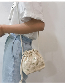 Fashion White Straw Shoulder Messenger Bag