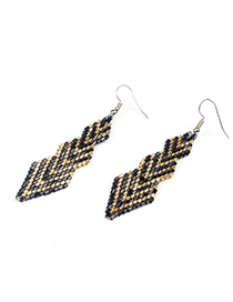 Fashion Black Rice Beads Woven Geometric Earrings