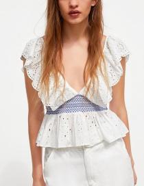 Fashion White Embroidered Openwork Top