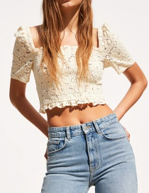 Fashion Beige Lace Short Top