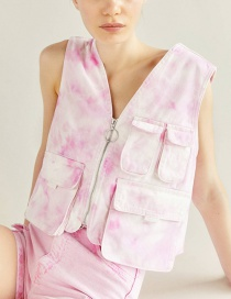 Fashion Pink Tie-dyed Denim Vest