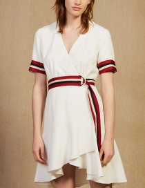 Fashion White Ribbon Hit Color V Wrap Dress