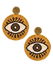Fashion Yellow Non-woven Rice Beads Eye Studs