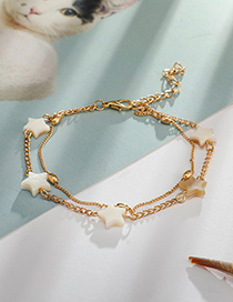 Fashion Gold Acrylic Alloy Five-pointed Star Double-layered Anklet
