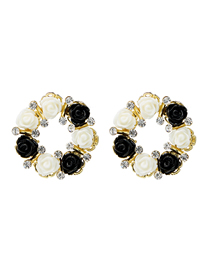 Fashion Black And White S925 Silver Needle Resin Flower Ring Diamond Earrings