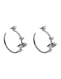 Fashion Silver Alloy Ring Diamond Earrings