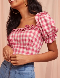 Fashion Pink Plaid Puff Sleeve Top