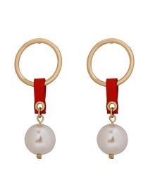 Fashion Gold Metal Ring Large Pearl Leather Earrings