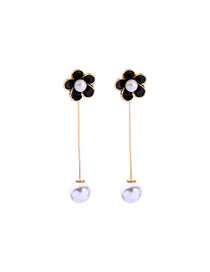 Fashion Black Drop Oil Flower Pearl Earrings