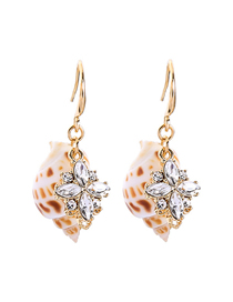 Fashion Gold Conch Pearl Earrings
