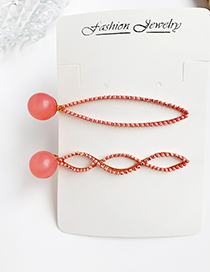 Fashion Red Alloy Resin Bead Hair Clip Two-piece