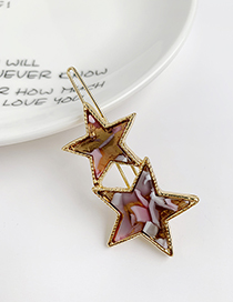 Fashion Color Alloy Resin Five-pointed Star Hairpin