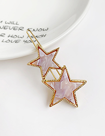 Fashion Pink Alloy Resin Five-pointed Star Hairpin