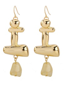 Fashion Gold Glossy Plated Metal Acrylic Earrings