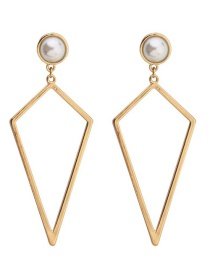 Fashion Gold Geometric Pearl Diamond Hollow Earrings